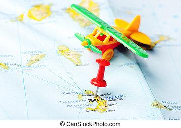 aeropuerto, isla, grecia, thira, mapa