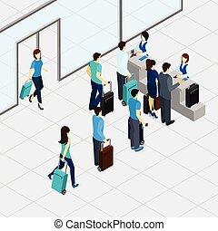 aeropuerto, línea, cheque