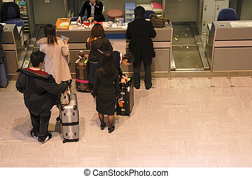 aeropuerto, mostrador, boleto