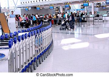 aeropuerto, multitud