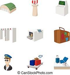 aeropuerto, recepción, iconos, conjunto, caricatura, estilo