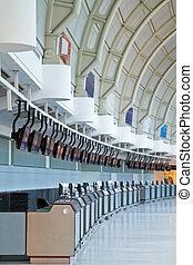 aeropuerto, recepción, mostradores
