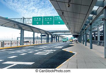 aeropuerto, shanghai, pudong, camino
