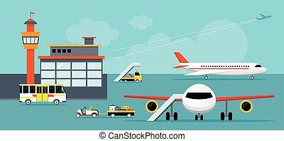 aeropuerto, terminal, suelo, trabajo