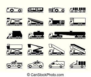 aeropuerto, vehículos, mantenimiento