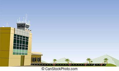 aeropuerto, y, avión, corra, manera
