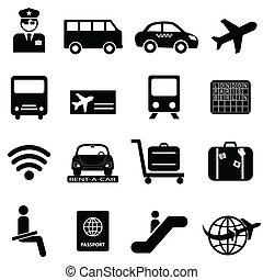 aeropuerto, y, viajes aéreos, iconos
