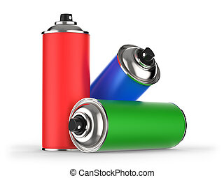 Colorful aerosol cans isolated on white background 3D rendering