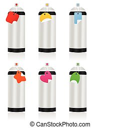 Aerosol - Capacity with an aerosol of different colours. A...