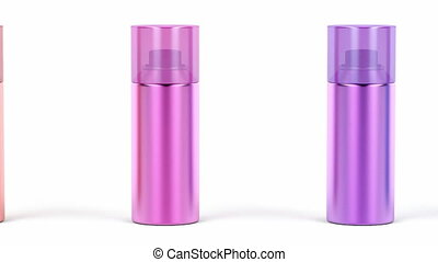 Aerosol spray cans with different colors on white background