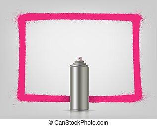 Aerosol spray on grey background with pink frame. Vector illustration.