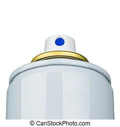 Aerosol valve actuator macro shot isolated on white