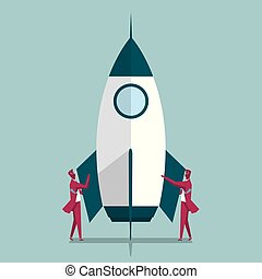 Aerospace industry. Two businessmen are standing on both sides of the rocket. Isolated on blue background.