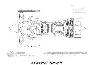 aerospase, motor, vista, aircraft., aislado, dibujo, image...