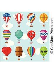 Aerostat Balloon transport with basket set flying in sky, Cartoon air-balloon different shapes ballooning adventure flight, ballooned traveling flying toy, Vector illustration