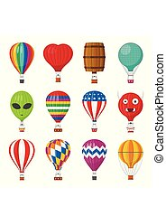 Aerostat Balloon transport with basket set isolated on white background, Cartoon air-balloon different shapes ballooning adventure flight, ballooned traveling flying toy, Vector illustration