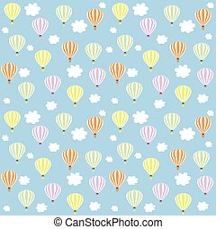 aerostats in sky. seamless pattern, balloons in the sky...