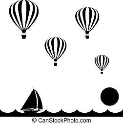 aerostats, vliegen, in, hemel, op, de, zee, op, ondergaande zon , dons, zeilboot