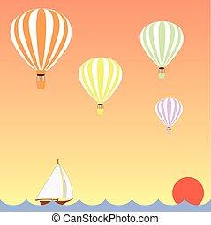 aerostats, zijn, vliegen, in, hemel, op, de, zee, op, ondergaande zon , dons, zeilboot