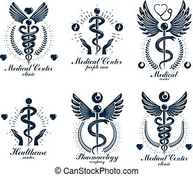 Aesculapius Greek vector abstract logotypes composed with wings, heart shapes, ecg charts and laurel wreaths. Medical symbols for use in pharmacology business and medical advertisement.