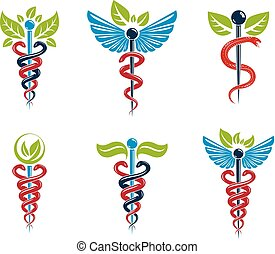 Aesculapius vector abstract illustrations collection, Caduceus symbols composed with green leaves and bird wings for use in medical treatment.