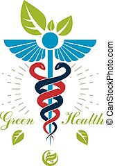 Aesculapius vector abstract logo, Caduceus symbol composed with bird wings for use in medical treatment.