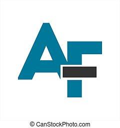 af, compañía, carta, logotipo, iniciales, icono