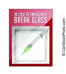 af sag nødsituation ind, bryd, glas, -, injektionssprøjte, begreb