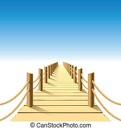 af træ, anlægsbroen