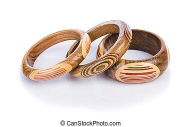 af træ, armbånd, isoleret, på, den, hvid