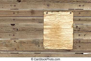 af træ, avis, gamle, planker