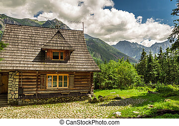 af træ, bjerge, hytte, forester