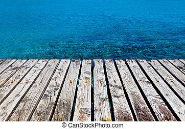 af træ, dok, besides, hav