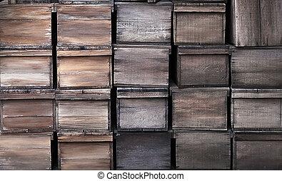 af træ, gamle, crates, tekstur