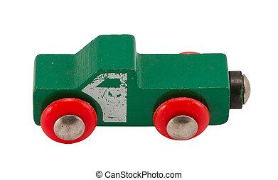 af træ, grønne, retro legetøj, automobilen, isoleret, på hvide
