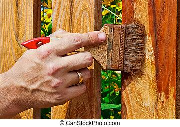 af træ, maleri, rækværk