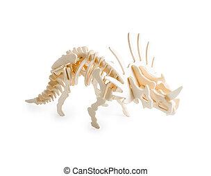 af træ, smukke, model, i, dinosaurus, triceratops, isoleret, på hvide