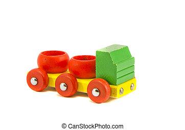 af træ, tank-car, lastbil, model, isoleret, på hvide