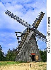 af træ, vindmølle