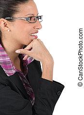 afastado, óculos, observar, mulher