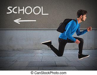 afastado, corrida, escola