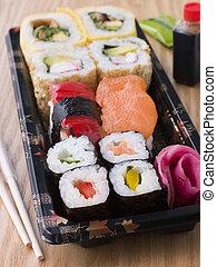 afastado, sushi, bandeja, tomar