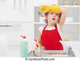 afazeres, pequeno, tarefas domésticas, cansadas, lar, fada