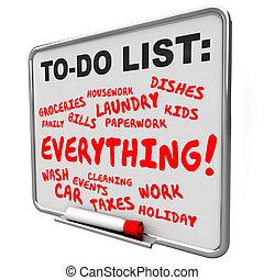 afazeres, tarefas, trabalhos, lista, tudo, tábua, mensagem