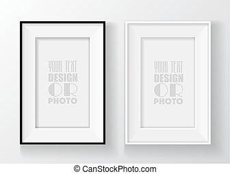 afbeelding, achtergrond., muur omlijsting, vrijstaand, illustratie, realistisch, vector, black , witte
