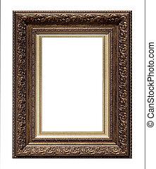 afbeelding, antieke , frame, vrijstaand