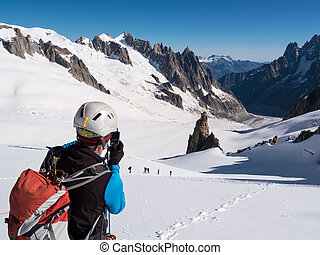 afbeelding, boeiend, fototoestel, bergbeklimmer, bergen.