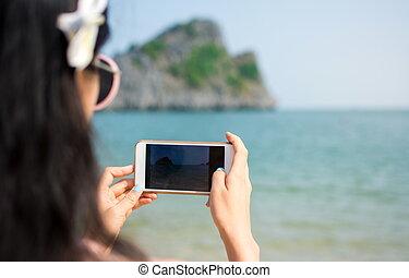 afbeelding, boeiend, strand, meisje, telefoon