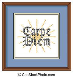 afbeelding, carpe, frame, borduurwerk, diem
