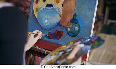 afbeelding, close-up, vrouw, kunst, kunstenaar, leven, back, studio, borstel, doek, nog, schilderij, aanzicht